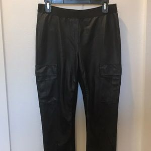 BCBGMAXAZRIA black faux leather panel pants